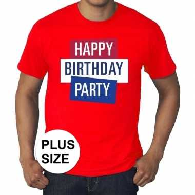 Toppers - grote maten rood toppers happy birthday party t-shirt offic