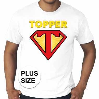 Toppers - grote maten super topper logo t-shirt wit heren