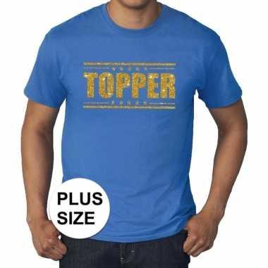Toppers - grote maten topper shirt blauw met gouden glitters heren