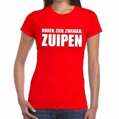 Toppers - horen zien zwijgen zuipen tekst t-shirt rood dames