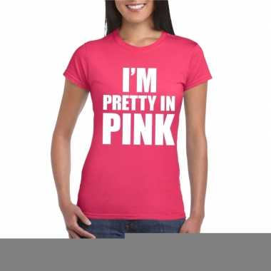 Toppers i am pretty in pink shirt roze dames