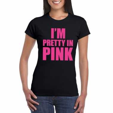Toppers i am pretty in pink shirt zwart dames
