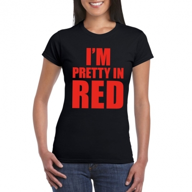 Toppers - i'm pretty in red t-shirt zwart dames