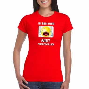 Toppers - ik ben hier niet vrijwillig t-shirt rood dames