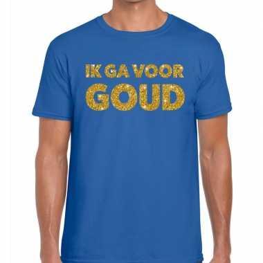 Toppers - ik ga voor goud glitter tekst t-shirt blauw heren