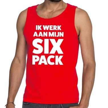 Toppers - ik werk aan mijn six pack tekst tanktop / mouwloos shirt ro