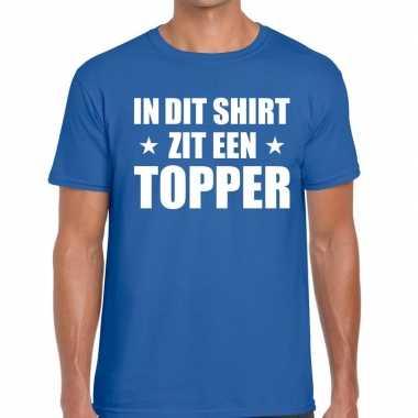 Toppers - in dit shirt zit een topper t-shirt blauw voor heren