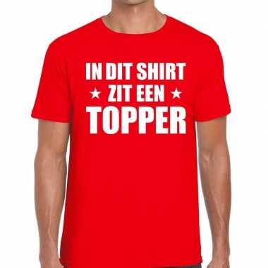 Toppers - in dit shirt zit een topper t-shirt rood voor heren