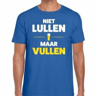 Toppers - niet lullen maar vullen heren t-shirt blauw