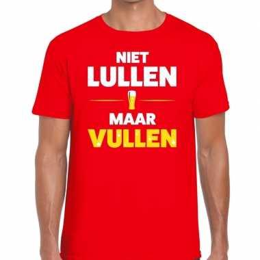 Toppers - niet lullen maar vullen heren t-shirt rood