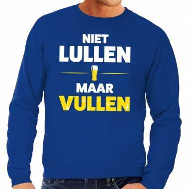 Toppers - niet lullen maar vullen tekst sweater blauw