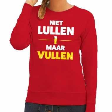 Toppers - niet lullen maar vullen tekst sweater rood voor dames
