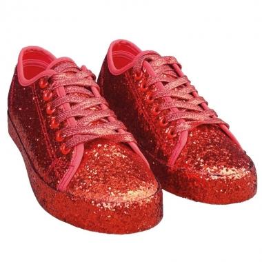Toppers - rode glitter disco sneakers/schoenen voor dames
