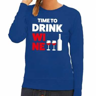 Toppers - time to drink wine tekst sweater blauw voor dames
