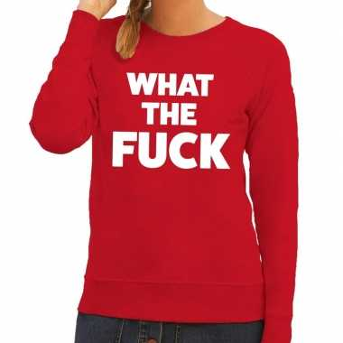 Toppers - what the fuck tekst sweater rood voor dames
