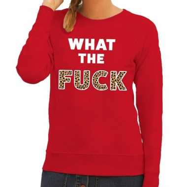 Toppers - what the fuck tijger print tekst sweater rood voor dames