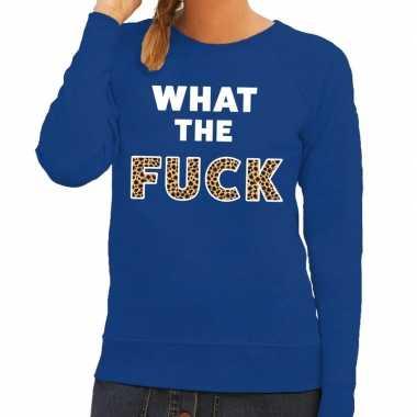 Toppers - what the fuck tijger tekst sweater blauw voor dames