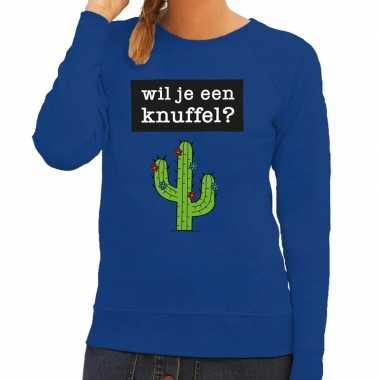 Toppers - wil je een knuffel tekst sweater blauw voor dames