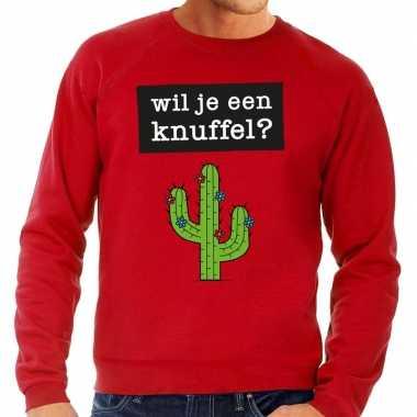 Toppers - wil je een knuffel tekst sweater rood
