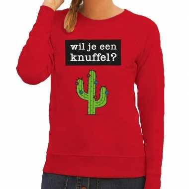 Toppers - wil je een knuffel tekst sweater rood voor dames