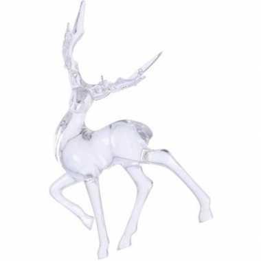 Transparant lopend hert kerstversiering hangdecoratie 14 cm