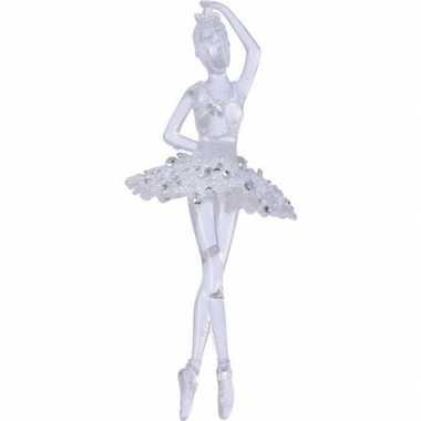 Transparante ballerina kerstversiering hangdecoratie 17 cm