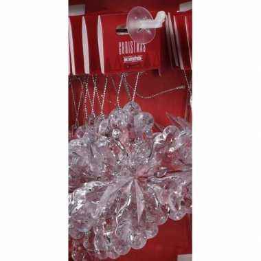 Transparante ijsbloem kerstversiering hangdecoratie 11 cm