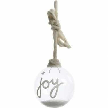 Transparante kerstbal joy 10 cm met sneeuw