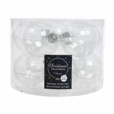 Transparante kerstversiering kerstballen glas 6 cm