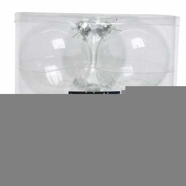Transparante kerstversiering kerstballenset glas 8 cm