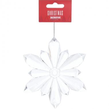 Transparante sneeuwvlok kerstversiering hangdecoratie 11 cm