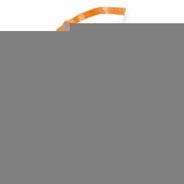 Uitdeel snoepzakjes oranje/wit 10 stuks