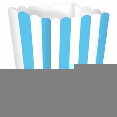 Uitdeelbakjes lichtblauw/wit 5 stuks