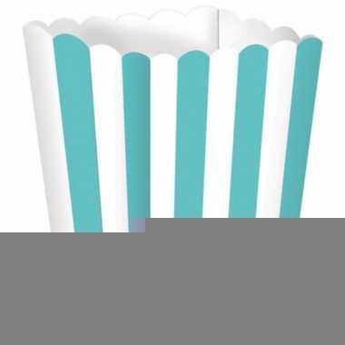 Uitdeelbakjes mintgroen/wit 5 stuks
