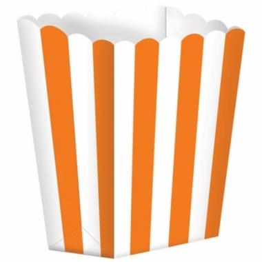 Uitdeelbakjes oranje/wit 5 stuks