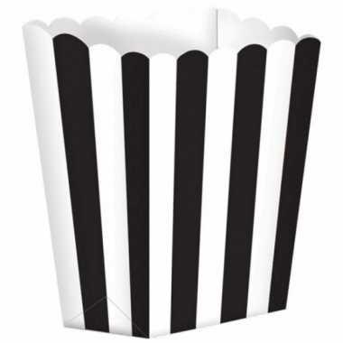 Uitdeelbakjes zwart/wit 5 stuks