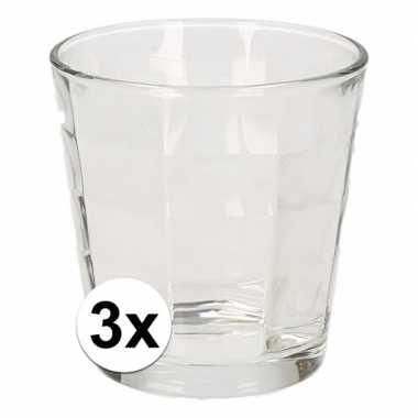 Uitzet/op jezelf wonen drinkglazen cube 3 stuks 240 ml