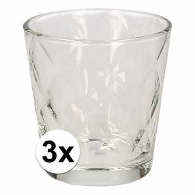 Uitzet/op jezelf wonen drinkglazen kaleido 3 stuks 240 ml