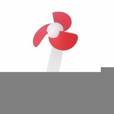 Usb bureau ventilator wit/rood 22 cm