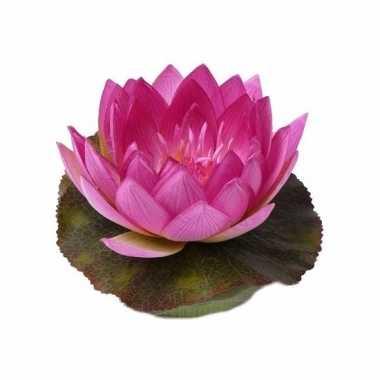 Vijverdecoratie drijvende kunst waterlelie roze 17 cm trend