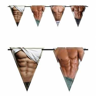 Vlaggenlijn bloot mannenlijf/torso 6 meter