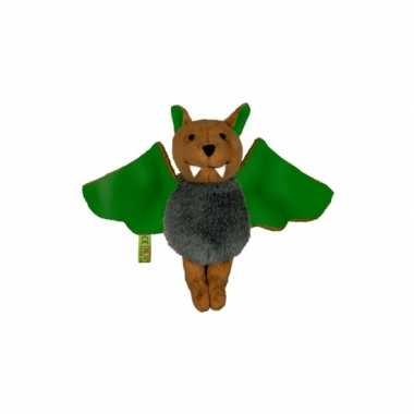 Vleermuizen knuffel groen 14 cm