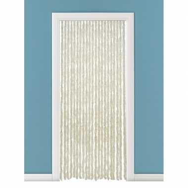 Vliegengordijn/deurgordijn kattenstaart beige/wit 93 x 230 cm