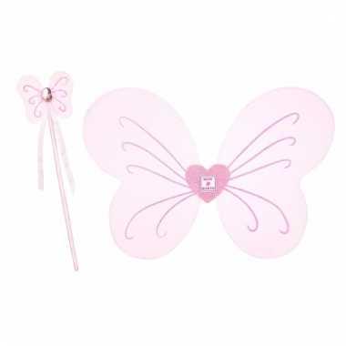 Vlinder verkleedset roze voor meisjes