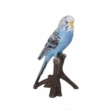 Vogel tuindecoratie beeldje blauwe parkiet 16 cm