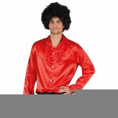 Voordelige rode rouche blouse voor heren