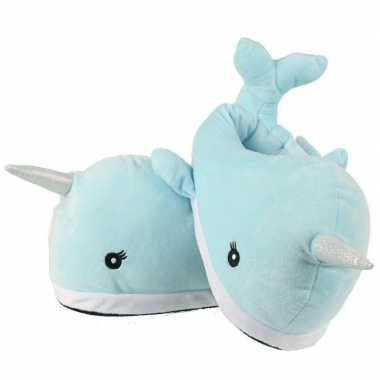 Walvis pantoffels lichtblauw voor volwassenen
