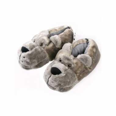Warme winter sloffen berenkop grijs
