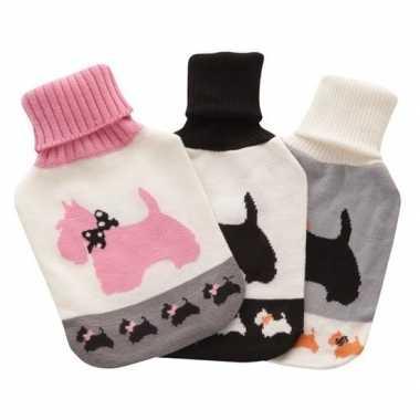 Warmwater kruik met wit/roze honden hoes 2 liter