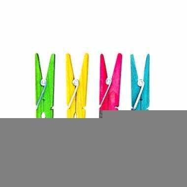 Wasknijpers van hout in verschillende kleuren